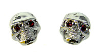 Voodoo Skull Knobs - One pair -  Chrome w/ jewel eyes
