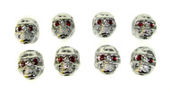 Voodoo Skull Knobs - Set of 8 -  Chrome w/ jewel eyes