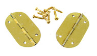 2pc. Small Oval Brass-plated Hinges with Screws