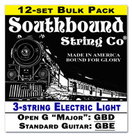 12-pack 3-string Cigar Box Guitar Strings - Open G Major/Standard Guitar Tuning - Electric Light