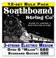 12-pack 3-string Cigar Box Guitar Strings - Open G/Standard - Electric Medium