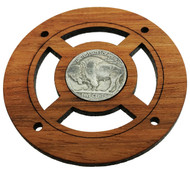 """Buffalo Nickel"" (Back Side) Vintage Coin Sound Hole Cover for Cigar Box Guitars"