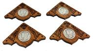 4pc. Mahogany Box Corners with Silver U. S. Mercury Dimes - Heirloom-grade Cigar Box Guitar Parts