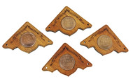 """4pc. """"Wheat Penny"""" Mahogany Box Corners - featuring real U. S. Coins"""