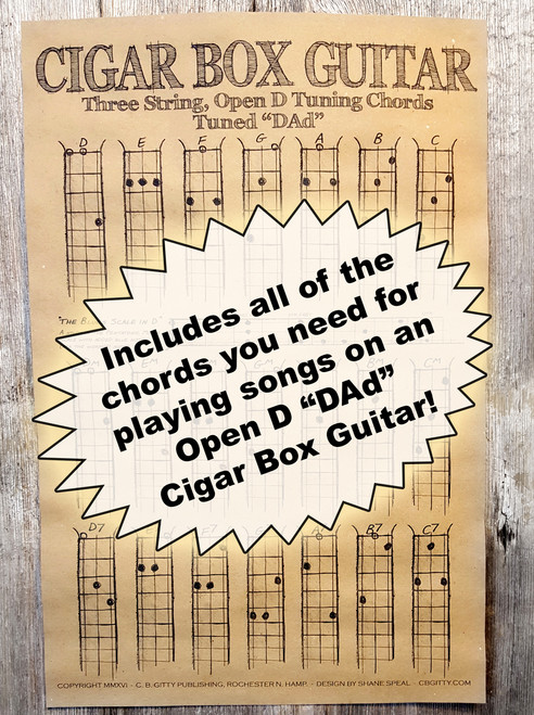 open d dad chord poster for 3 string cigar box guitars includes blues scale diagram c b. Black Bedroom Furniture Sets. Home Design Ideas