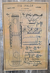 """The Ukelin"" Musical Oddities Poster Series #1 - 12x18 reprint of a vintage U. S. Patent"