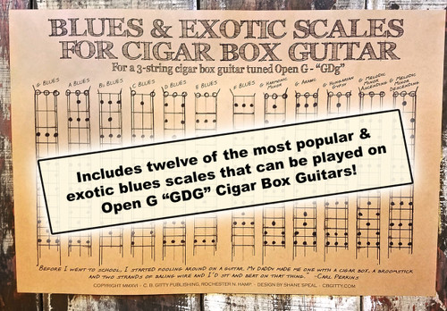 blues scales poster for 3 string open g gdg cigar box guitar includes 12 standard exotic. Black Bedroom Furniture Sets. Home Design Ideas