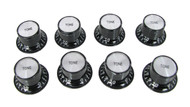 8pc. Black Top-Hat Style Acrylic Tone Knobs