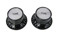 2pc. Black Top-hat Style Acrylic Tone Knobs