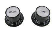 2pc. Black Top-hat Style Acrylic Knobs - Volume & Tone