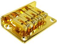 "4-string Gold Hard-tail ""Roller"" Style Bridge for Cigar Box Guitars & More - Top & Bottom Loading!"