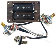 """DeltaBucker Deluxe"" 3-string Rosewood Cigar Box Guitar Humbucker Pickup pre-wired with Volume & Tone - No Soldering!"