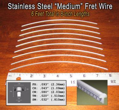 Jescar Medium Medium Stainless Steel Fret Wire 6 Ft C