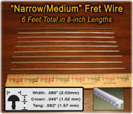 Narrow/Medium Nickel-Silver Fret Wire (6 ft)