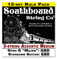 12-pack 3-string Cigar Box Guitar Strings - Open G Major/Standard Guitar Tuning - Acoustic Medium