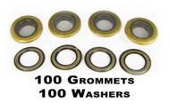 100pc 1-inch Antique Brass Screened Grommets