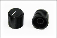 2-pack Black Ribbed Knobs with White Lines