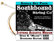 Acoustic Medium 3-String Cigar Box Guitar Strings - Open G/Standard - GBD/GBE