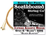 Acoustic Medium 3-String Cigar Box Guitar Strings - Low Open G - GDG
