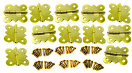 12pc. Brass-plated Butterfly Hinges