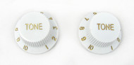 2-pack White Stratocaster-style Tone Knobs