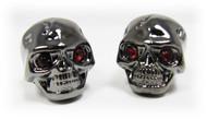 Voodoo Skull Knobs - One pair -  Darkened Chrome w/ jewel eyes