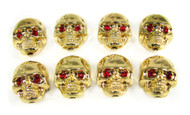 Voodoo Skull Knobs - Set of 8 - Gold w/ jewel eyes
