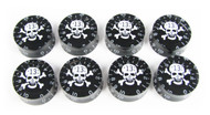 "Outlaw Skull Speed Knobs - Set of 8 - White Skull ""13"" on Black"
