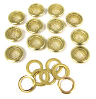 12pc. 15mm Shiny Brass Screened Grommets