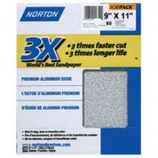"Norton 02641 3X Sandpaper 80 Grit 9"" x 11"" (Pack of 20)"