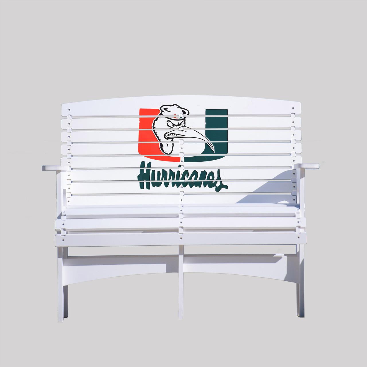 University Of Miami Hurricane S Bench With Ibis Key