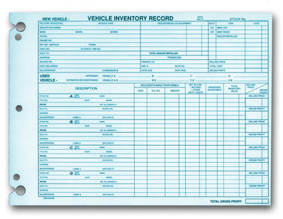 Vehicle Inventory Record Sheets Cheap Ass Dealer Supplies