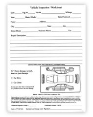 Vehicle Inspection Worksheet (Form #AVW)