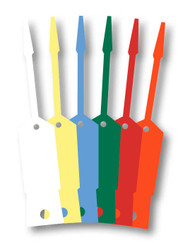 Self-Lock Key Tags (1000 per pack) (Form # SLKT) - six colors: white, yellow, blue, green, red, orange