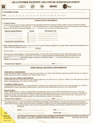 GM Customer Incentive & OnStar Acknowledgement (100 pack) (Form # GM-3795-OS)