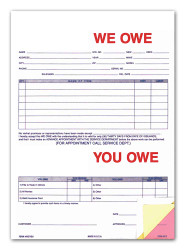 3-Part We Owe / You Owe Form (Form # 872) (100 per pack)