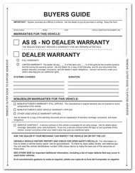 Front - 1-Part Pressure Sensitive Buyers Guide - As Is / Warranty (Form # 1985 P/A) (100 per pack)