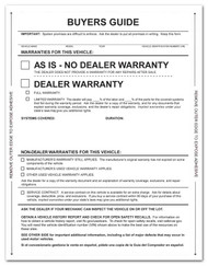 Front - 1-Part Pressure Sensitive Buyers Guide - As Is / Warranty (Form # 1985 P/A No Lines)