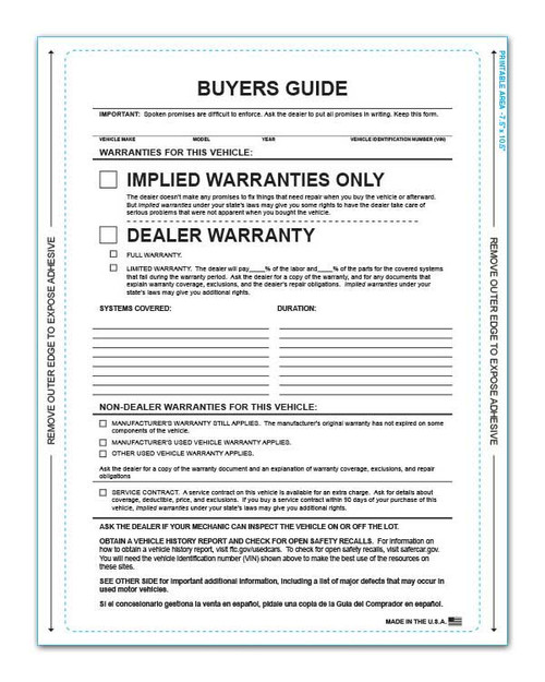 Front - 1-Part Pressure Sensitive Buyers Guide - Implied Warranty With Lines (100 per pack) (8254)