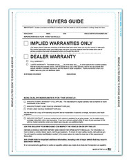 Front - 1-Part Pressure Sensitive Buyers Guide - Implied Warranty / Dealer Warranty (Form Without Lines) (100 per pack)