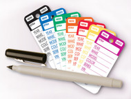 Top Stripe Vinyl Key Tags (7 colors: Magenta, Blue, Green, Red, Orange, Yellow, Black) (250 per box)