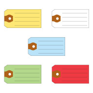 Multi-Purpose Tags (5 colors: Yellow, White, Blue, Green, Red) (500 per box)