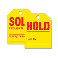 Sold / Hold Yellow Jumbo Mirror Hang Tags (Form # 280-SH) (50 per pack) (439)
