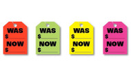 Was / Now Price Fluorescent Jumbo Mirror Hang Tags (4 color options) (50 per pack)