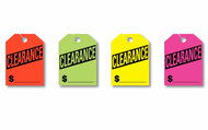 Clearance Fluorescent Jumbo Mirror Hang Tags (4 color options) (50 per pack)