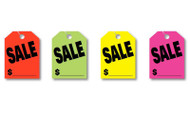 SALE Fluorescent Jumbo Mirror Hang Tags (4 color options) (50 per pack)