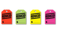 Fluorescent Jumbo Mirror Hang Tags (REDUCED) (4 color options) (50 per pack)