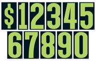 "Advertising Number Window Stickers (9-1/2"" Fluorescent Green and Black) (12 per pack)"