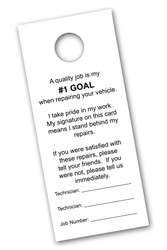 #1 Goal Vehicle Hang Tag (white) (100 per pack) (7107)