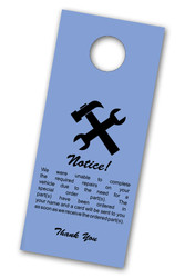 Notice! Parts On Order Vehicle Hang Tag (blue) (100 per pack) (7109)
